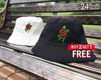 Red Rose Embroidered Bucket Hat by 24PlanetsStudio