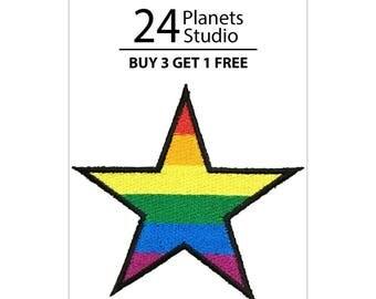 Rainbow Super Star Iron on Patch by 24PlanetsStudio