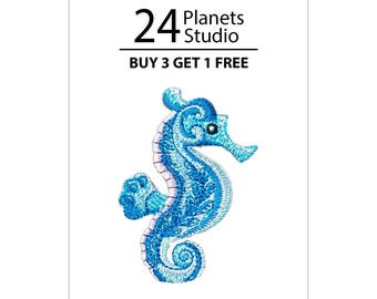 Seahorse Iron on Patch by 24PlanetsStudio