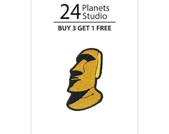 Mini Moai Yellow Iron on Patch by 24PlanetsStudio