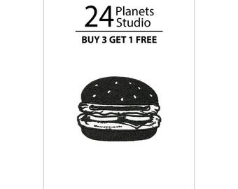 Mini Black Burger Hamburger Iron on Patch by 24PlanetsStudio