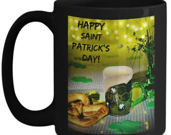 Happy St. Patrick's Day! Good Luck Beer 15 oz Black Ceramic Coffee Mug! Beer Stein Cheers Celebration Clover Luck
