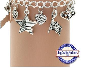 PATRIOTIC USA Charm bracelet, Very Nice - **FREE SHiPPiNG**