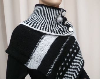 collar and its hand-knitted small poncho