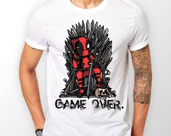 Game Of Thrones Deadpool Game Over Mens White T-shirt