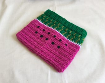 Crocheted watermelon tablet case