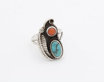 Turquoise Coral and Silver Leaf Ring