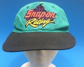 Vintage Snap On racing SnapBack hat adjustable teal