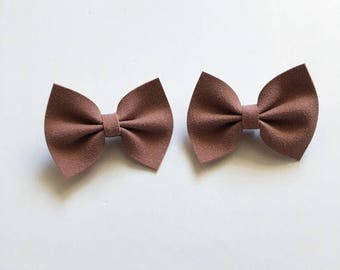 Blush color bow, suede, pigtails, girls hair bow