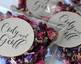 Personalised Wedding Confetti Toss ~ 'INDIGO ROSE' Eco Petal Confetti ~ Organic Red Rose + Cornflower + Mallow Flower Petals ~ Biodegradable