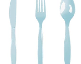 24PCS Pastel Blue Heavy Duty Plastic Cutlery Assorted Pack, Wedding Decorations, Decor, Party Decorations, Party, Wedding, cutlery