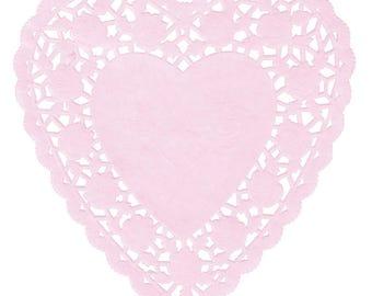 """6"""" 50 PCS Heart Paper Lace Doilies, Paper Doilies, Doily, Lace Doily, Lace Doilies, Grease Proof Doilies, Heart Lace Doily, Heart"""