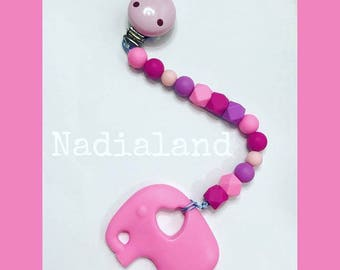 Silicone chain with toy teething elephant/food silicone beads/Elephant shaped teether/wooden Clip