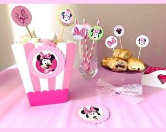 PARTY KIT Minnie Pink/Birthday girl theme Topolina/staging Minnie/Minnie birthday Party/straws/Popcorn Box/Party Picks