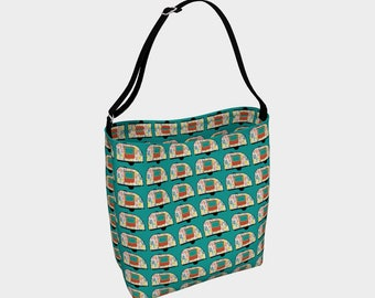 Desert Camper Tote Bag, Vintage Camper Tote, Green Tote, Book Tote, Grocery Bag, Tote Bag, Printed Tote Bag inside and out, Customized Strap