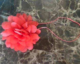Extra Large Flower Headband, Coral Flower, Skinny Elastic, Baby Headband