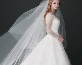 120in Veil Vintage veil,Cathedral wedding veil,Lace wedding veil, Bridal Veil,Tail wedding veil,Multilayer Veil