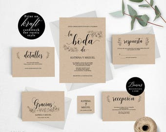 Spanish Rustic Wedding Invitation Template, Wedding Invitation Printable, Invitation Set, Cheap Invitation, DIY PDF Instant Download #E029