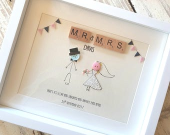 mr and mrs frame wedding frame wedding wall art wedding gift gift - Mr And Mrs Frame