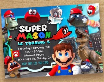 Super Mario Odyssey Invitation, Super Mario Invitation, Odyseey Birthday Party, Mario Odyssey Card Chalkboard Invite, Odyssey Party Custom