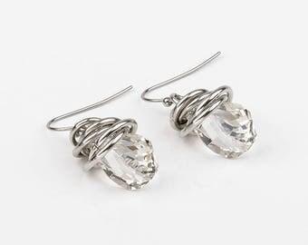 drop, swarovski, stainless steel earrings