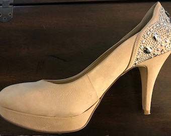 Tan Sparkling Diamond Heel Pump Women's 10 M