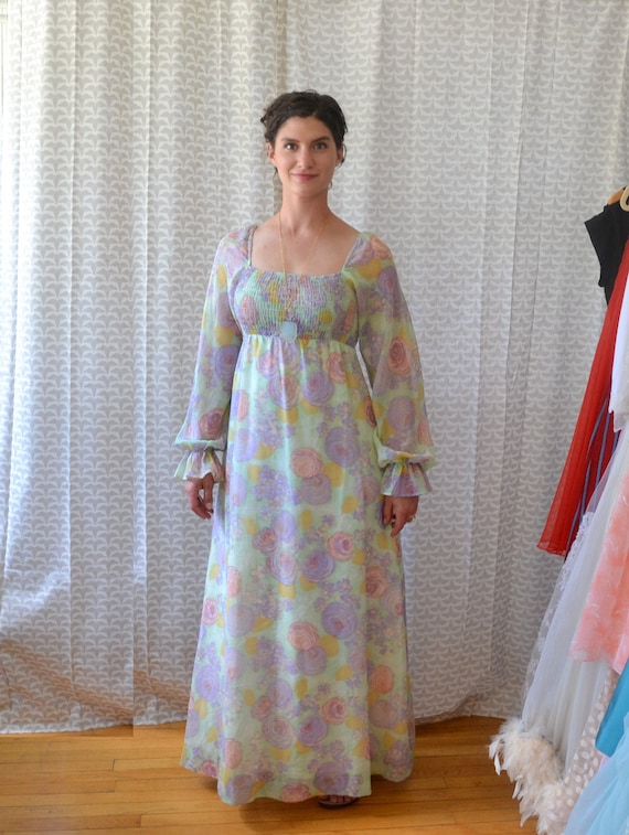 Watercolor Gardens Dress | vintage 70's juliet sleeve boho maxi dress | small medium