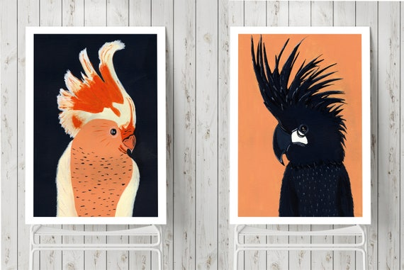 Set of 2 posters | Love birds | Parrots art | Couple art | Indigo and peach painting | Wall art | Wall decor | Poster art | Framed canvas