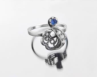 Vintage engagement ring Silver ring Vintage rings Sapphire engagement ring Vintage Sapphire ring Sapphire jewelry Flower ring silver 925