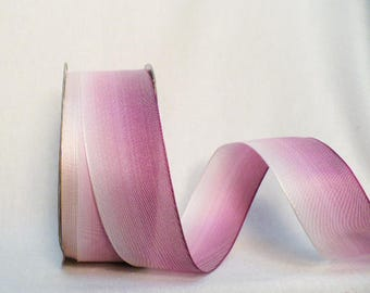 Ombre wired ribbon, pink tone tone, 38 mm, fifteen yards