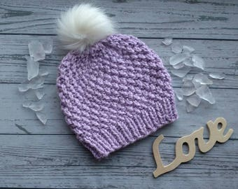 Kid's Knit Faux Fur Pom Pom Hat, Purple Pom Pom Hat, Child Knit Winter Hat, Child Pom Pom Hat, Textured Knit Hat, Wool free Child Hat