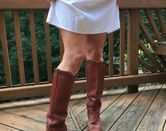 70's Knee High Cognac Frye Boots