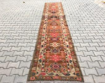 Turkısh runner rug 14.3 x 2.7 Ft turkısh rugs,anatolia rug,bohemian rug,Overdyed rug,vintage rug,runner rug,oushak rug,runner,rugs