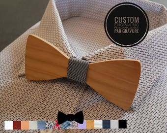 Natural wood Bow Tie,  personalized with love words engraving, Valentine gift