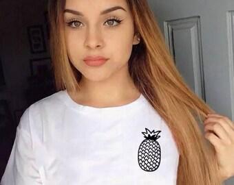 Pineapple Logo tee - National Pineapple Day Fruity Tee Fruit Shirt Unsiex Fruit Top