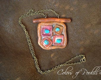 Gorgeous orange turquoise square necklace