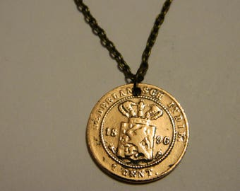 1896 Netherlands Coin Pendant & Chain Necklace Solid Copper East Indies Antique #52
