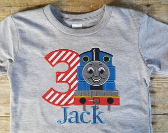 Thomas applique shirt - Boys train shirt - Boy Birthday shirt - Train applique shirt - Train Birthday shirt - Boy applique birthday shirt