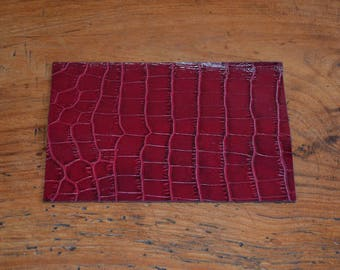 Coupon of leather genuine Burgundy cowhide (9304392)