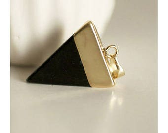 Triangle holder Golden black Obsidian pendant
