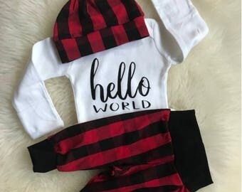 Hello World Outfit,Baby Boy Coming Home Outfit, red plaid,newborn boy coming home outfit, hello world,newborn boy, woodland