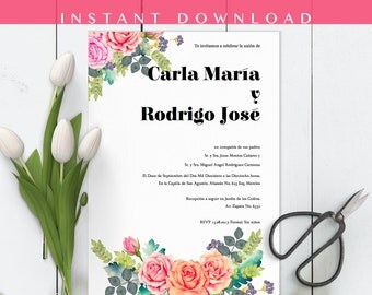 Invitaciones de boda, Spanish wedding Invitation, Floral, Rosas, Roses, Instant download invite DIY In Spanish