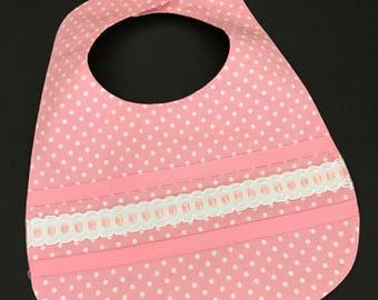 Baby Girl's Bib, Infant's Bib, Reversible Baby Bib, Ribbon Trimmed Bib, Pink Polka Dot Baby Bib, Pink & Yellow Baby Bib, Infant Girls Bib