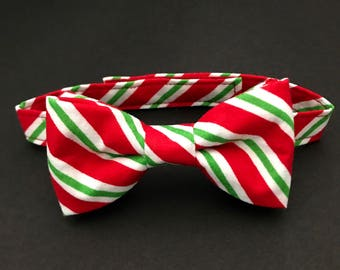 Little Boy's Christmas Bow Tie; Adjustable Bow Tie; Red, Green & White Striped Bow Tie; Toddlers Christmas Bow Tie; Christmas Bow Tie