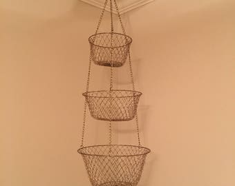 Gold wire hanging fruit basket/ planter