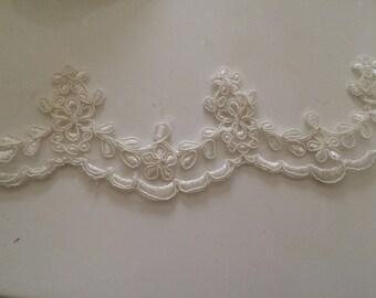 Beige 7 cm maximum width guipure lace