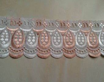 Lace embroidery anglaise with past Ribbon 9 cm