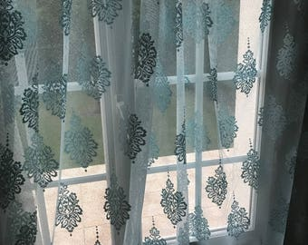 As a lace print sheer curtains damasses Caribbean blue