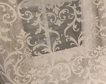 Sheer organza silky very shiny damask baroque design