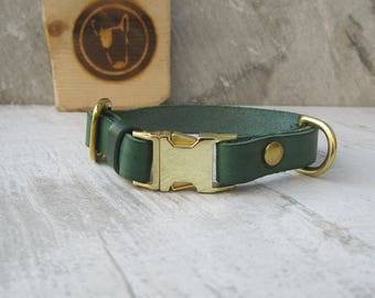 Green Leather Dog Collar for Small Dogs, Quick Release Dog Collar, Solid Brass Hardware, Breakaway Dog Collar, Colorful Dog Collar